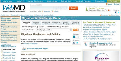 Screen capture from WEB MD.