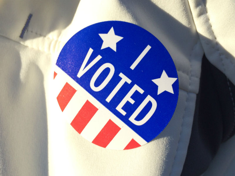 "An ""I Voted"" sticker on Ogdensburg, N.Y. resident Yvonne Griffith's jacket on Nov. 8, 2016. Staff photo."